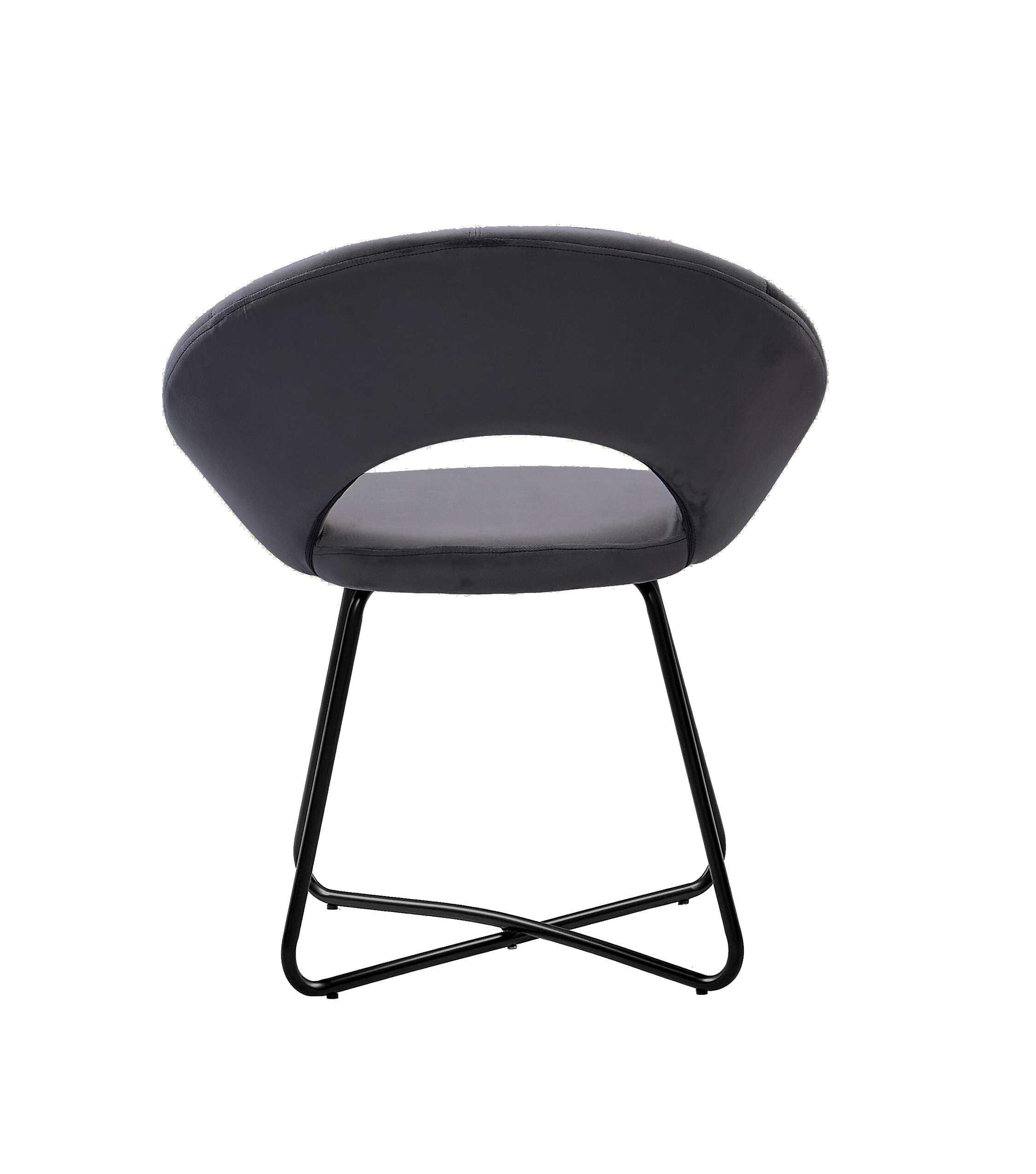 Esszimmerstuhl Design Sessel Samt anthrazit Metallbeine schwarz LENNY – baumkantentische ...