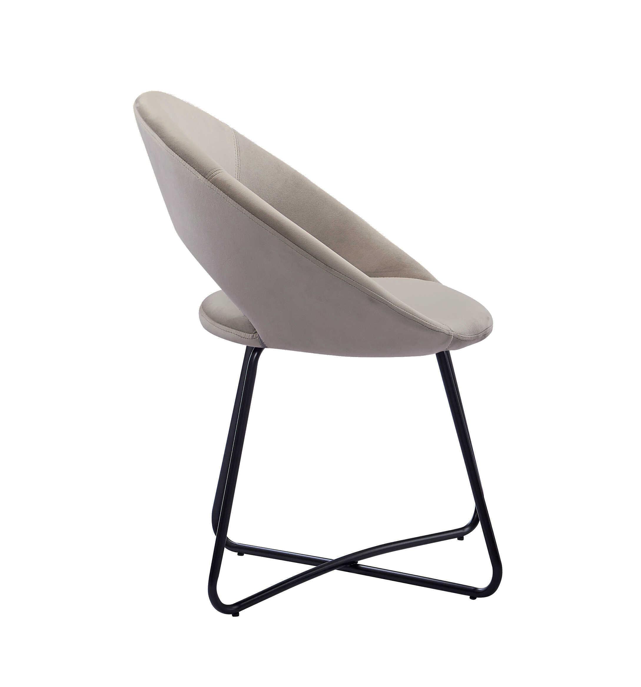 Esszimmerstuhl Design Sessel Samt taupe Metallbeine schwarz LENNY – baumkantentische – Esstische ...